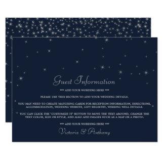 Elegant Navy & Silver Falling Stars Wedding Detail カード