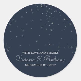 Elegant Navy & Silver Falling Stars Wedding Favour ラウンドシール
