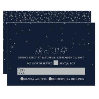 Elegant Navy & Silver Falling Stars Wedding RSVP カード
