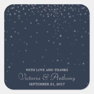 Elegant Navy & Silver Falling Stars Wedding Thanks スクエアシール