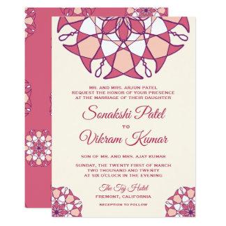 Elegant Pink Mandala Indian Wedding Invitation カード