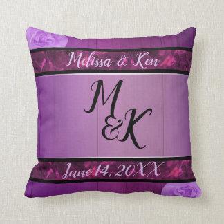 Elegant plum black and marble wedding pillow クッション