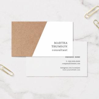 Elegant Printed Kraft White Geometric Consultant 名刺