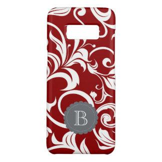 Elegant Red Wine Floral Wallpaper Swirl Monogram Case-Mate Samsung Galaxy S8ケース