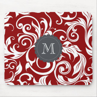 Elegant Red Wine Monogram Floral Wallpaper マウスパッド