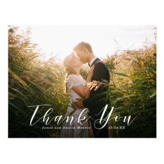 Elegant Script Wedding Thank You Postcard ポストカード
