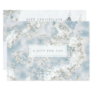 Elegant Silver Blue Marble Gift Certificate Card 8.9 X 12.7 インビテーションカード