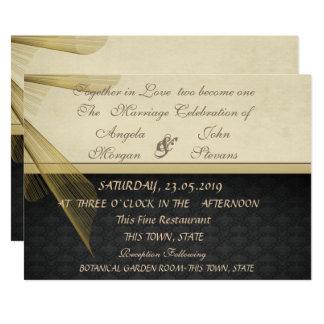 Elegant Stylish Black Damask  Wedding Invitation カード