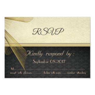 Elegant Stylish Black Damask Wedding  RSVP Card カード