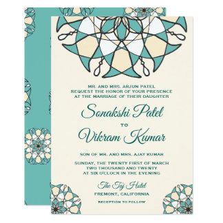 Elegant Teal Mandala Indian Wedding Invitation カード