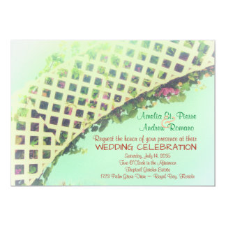 Elegant Tropical Floral Garden Wedding Invitation カード