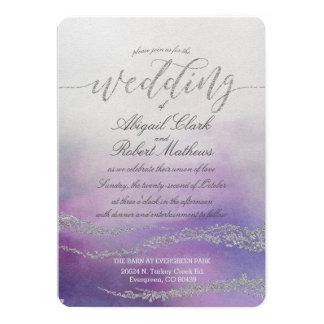 Elegant Watercolor in Orchid Wedding Invitation カード