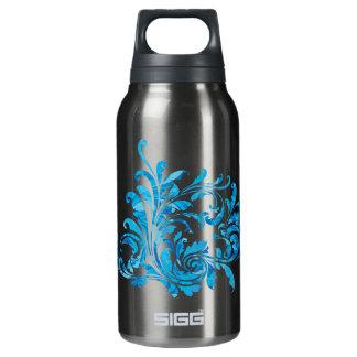 Eleganteの黒く及び青の花のヴィンテージ 断熱ウォーターボトル