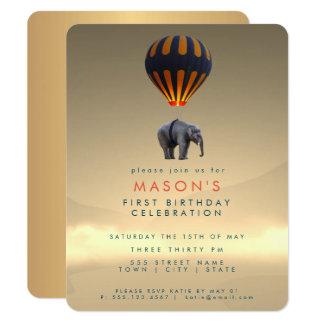 Elephant & Hot Air Balloon | Party Invitation Card カード