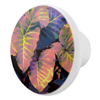 Elephant Leaves in Tropical Pastels セラミックノブ