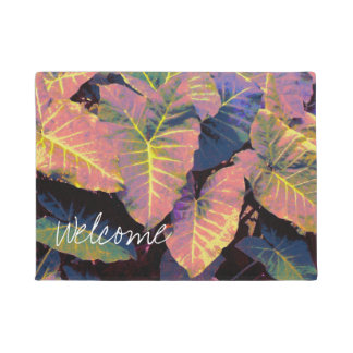 Elephant Leaves in Tropical Pastels ドアマット