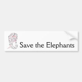 elephant ornate save the elephants バンパーステッカー
