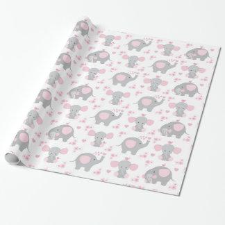 Elephant Pink Gray Safari Animal Baby Girl Shower ラッピングペーパー