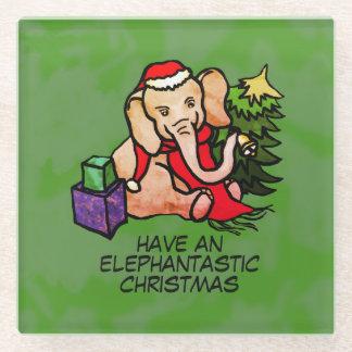 Elephantasticのクリスマスの甘いサンタ象 ガラスコースター