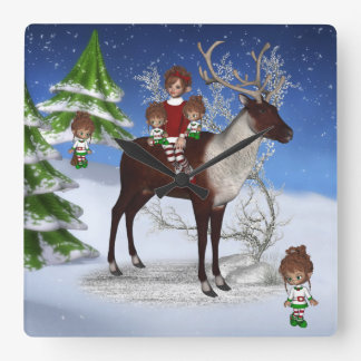 ElfMagicキャンデーのクリスマスの柱時計 スクエア壁時計