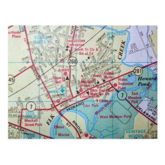 ELKTONのMDのヴィンテージの地図の郵便はがき ポストカード