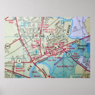 ElktonのMDのヴィンテージの地図ポスター ポスター