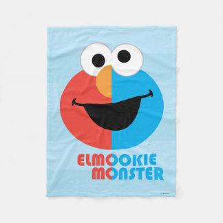 Elmoおよびクッキーの半分の顔 フリースブランケット