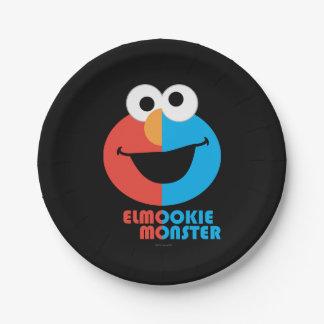 Elmoおよびクッキーの半分の顔 ペーパープレート