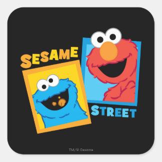 Elmoおよびクッキーモンスターの友人 スクエアシール