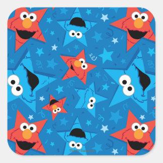Elmoおよびクッキーモンスター愛国心が強いパターン スクエアシール
