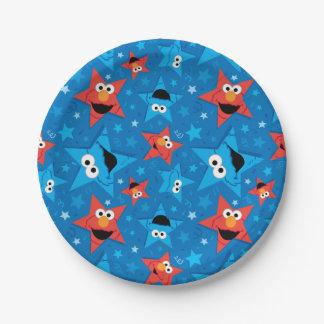 Elmoおよびクッキーモンスター愛国心が強いパターン ペーパープレート