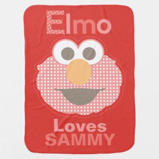 Elmoは愛します|はあなたの名前を加えます 赤ちゃん用ブランケット