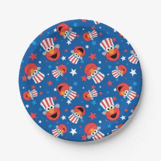 Elmo愛国心が強いパターン ペーパープレート
