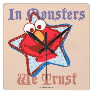 Elmo私達は-モンスターで…信頼します スクエア壁時計