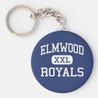 Elmwood - Royals -高等学校- Bloomdaleオハイオ州 ベーシック丸型缶キーホルダー