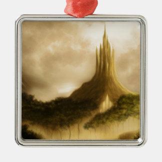 elvenの王国のファンタジーの景色 シルバーカラー正方形オーナメント