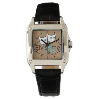 Elvis及び私カプチーノの正方形の腕時計の黒の革 腕時計