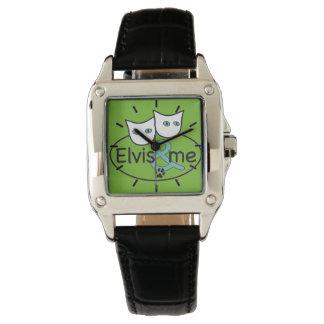 Elvis及び私緑の正方形の腕時計の黒の革バンド 腕時計
