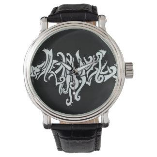 Elvish愛種族ライン白いインクスケッチ 腕時計