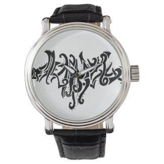 Elvish愛種族ライン黒インクスケッチ 腕時計