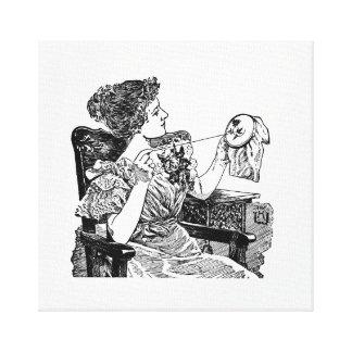 Embroideryヴィンテージの女性 キャンバスプリント