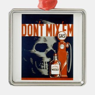 EmDon't飲み物を混合しないし、運転しないで下さい メタルオーナメント