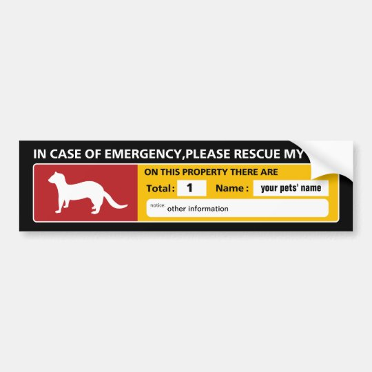 Emergency Sticker (ferret) バンパーステッカー