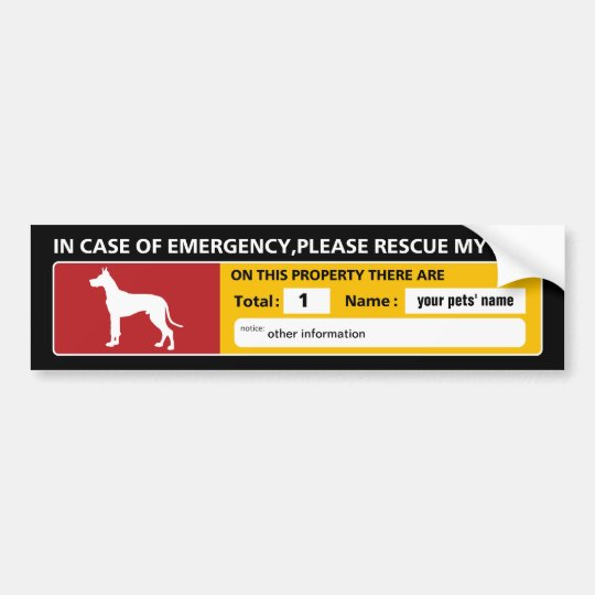 Emergency Sticker (great dane) バンパーステッカー