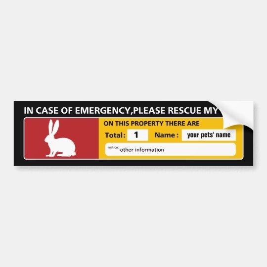 Emergency Sticker (rabbit) バンパーステッカー
