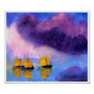 Emil Nolde - Sea with Violet Clouds And Sailboats ポスター