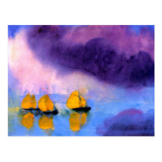 Emil Nolde - Sea with Violet Clouds And Sailboats ポストカード