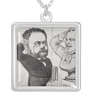 Emile Zolaの風刺漫画 シルバープレートネックレス
