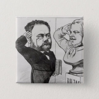 Emile Zolaの風刺漫画 5.1cm 正方形バッジ