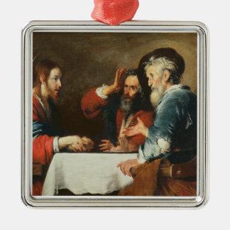 Emmaus (キャンバスの油)の夕食2 メタルオーナメント